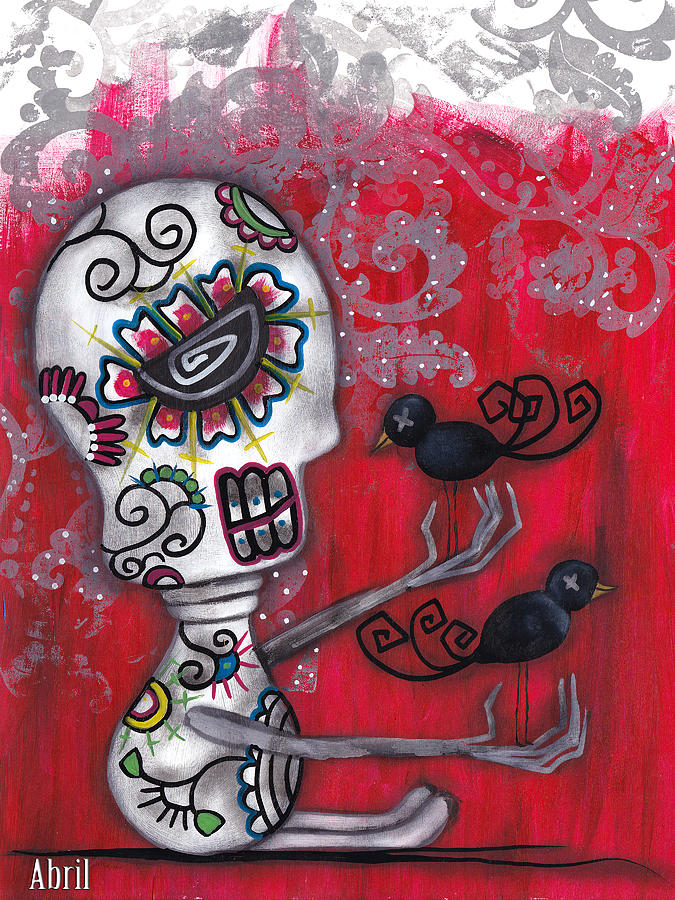 Day Of The Dead Painting - Crow Secrets by  Abril Andrade Griffith