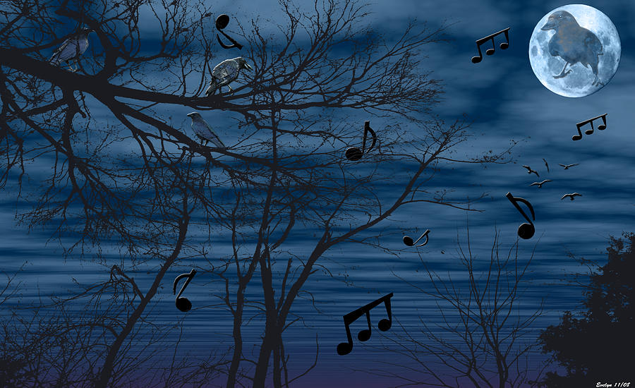 Birds Photograph - Crow Sings At Midnight by Evelyn Patrick