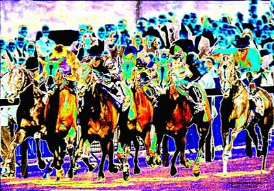 Horse Racing Digital Art - Crowd by Gary Rogers