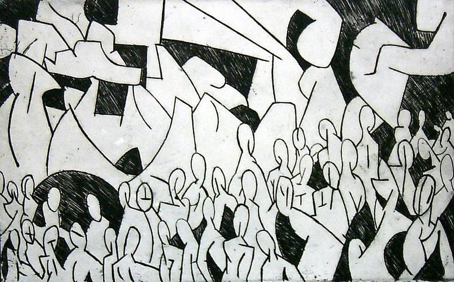 Etching Print - Crowd by Thomas Valentine