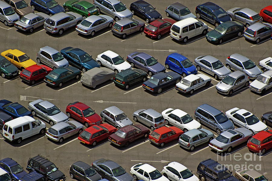 Automobile Photograph - Crowded Carpark Full Of Cars by Sami Sarkis