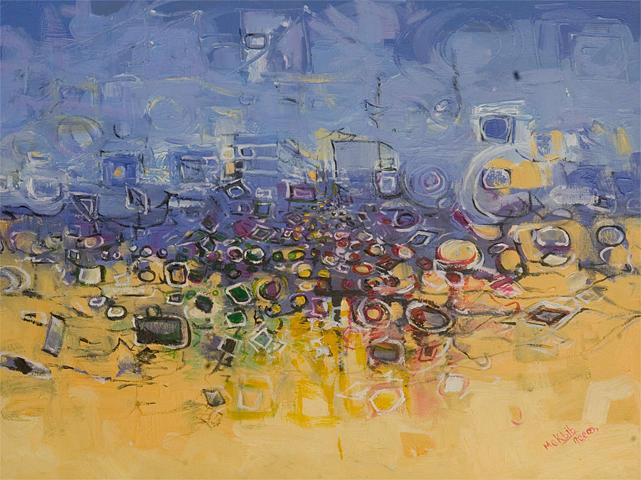 City Painting - Crowded City by Mekbib Geberstadik