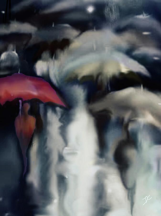 Rain Digital Art - Crowded Rain by Darren Cannell