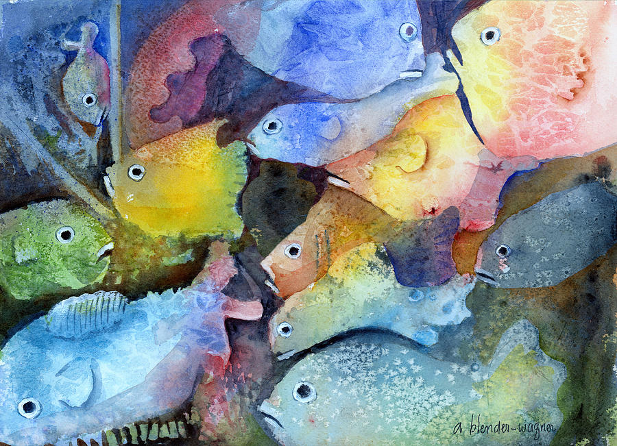Fish Painting - Crowded Space by Arline Wagner