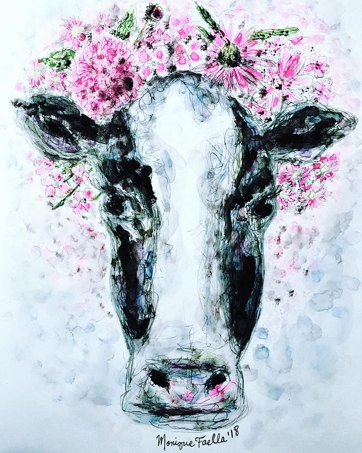 Cow Painting - Crown Of Flowers Cow by Monique Faella