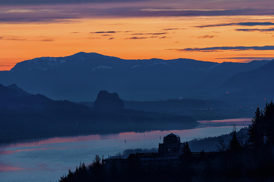 Sunrise Photograph - Crown Point And Beacon Rock At Dawn by David Gn