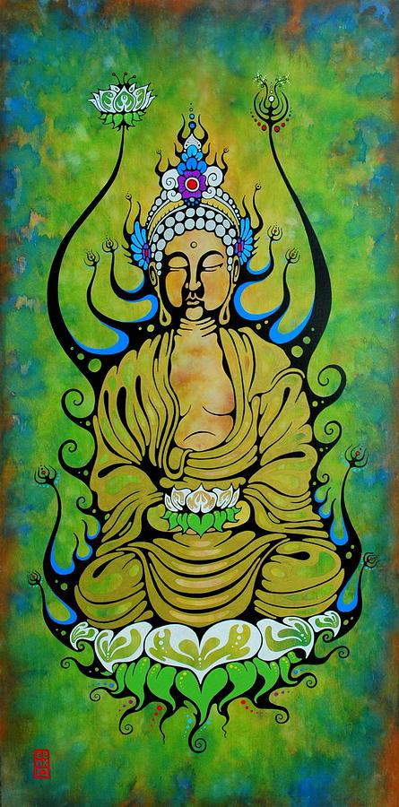 Buddha Painting - Crowned Buddha by John Benko