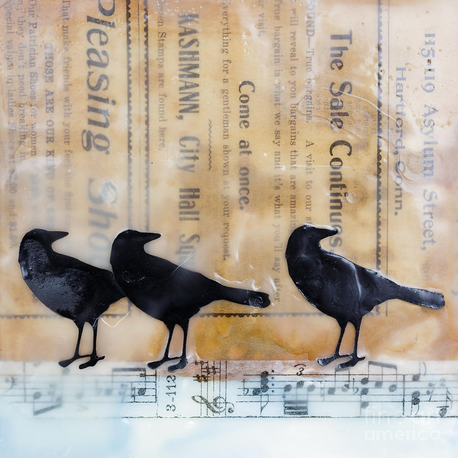 Encaustic Painting - Crows Encaustic Mixed Media by Edward Fielding