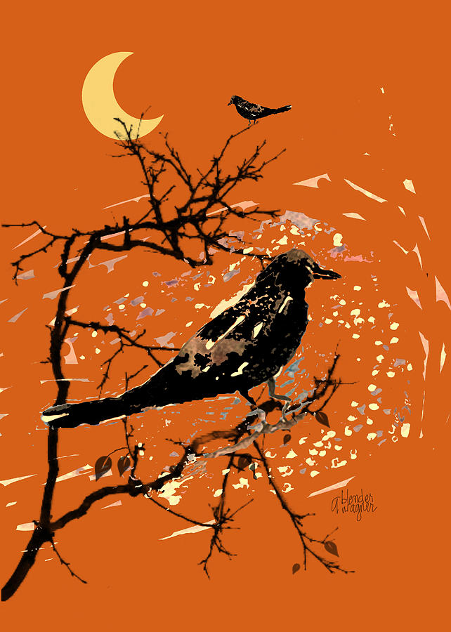 Crow Digital Art - Crows On All Hallows Eve by Arline Wagner