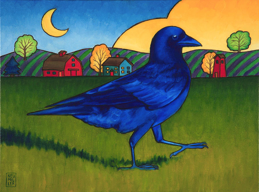 Crow Painting - Crows Run by Stacey Neumiller