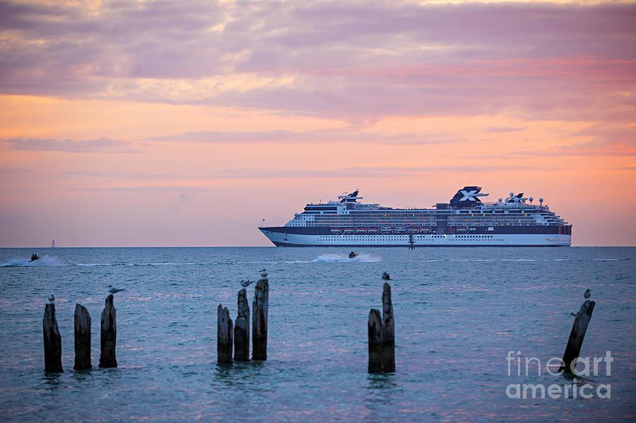 Ocean Photograph - Cruise Ship At Key West by Elena Elisseeva