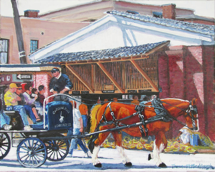 Charleston Market Painting - Cruisin By The Market by Thomas Michael Meddaugh