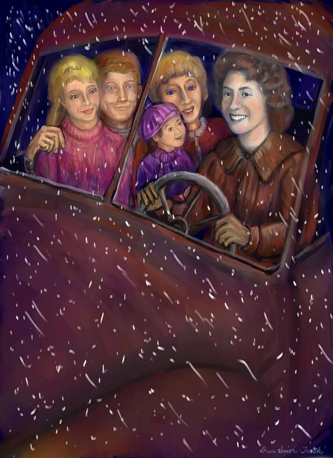 Sisters Drawing - Cruisin With The Big Kids by Dawn Senior-Trask