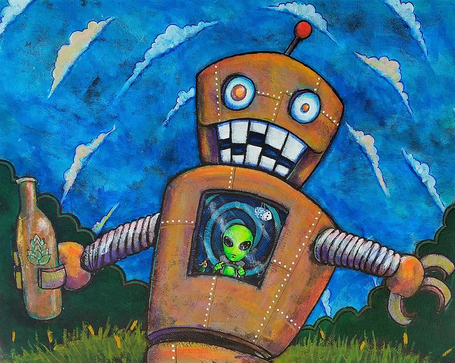Robot Painting - Cruisn For A Boozn by Nelson Perez