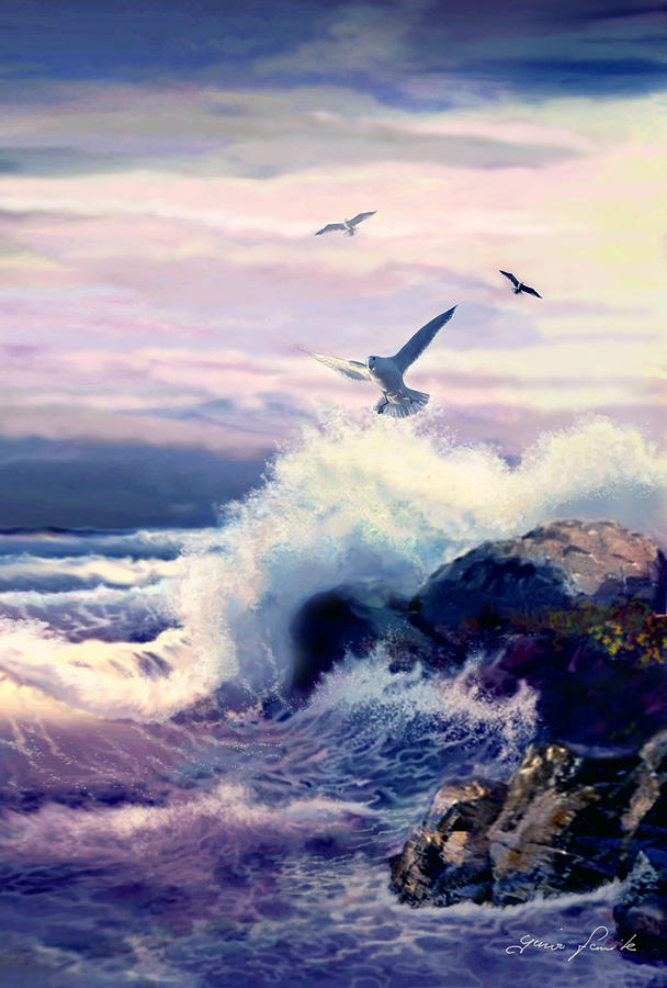 Stormy Sea Painting - Crushing Waves and Rockformation by Regina Femrite