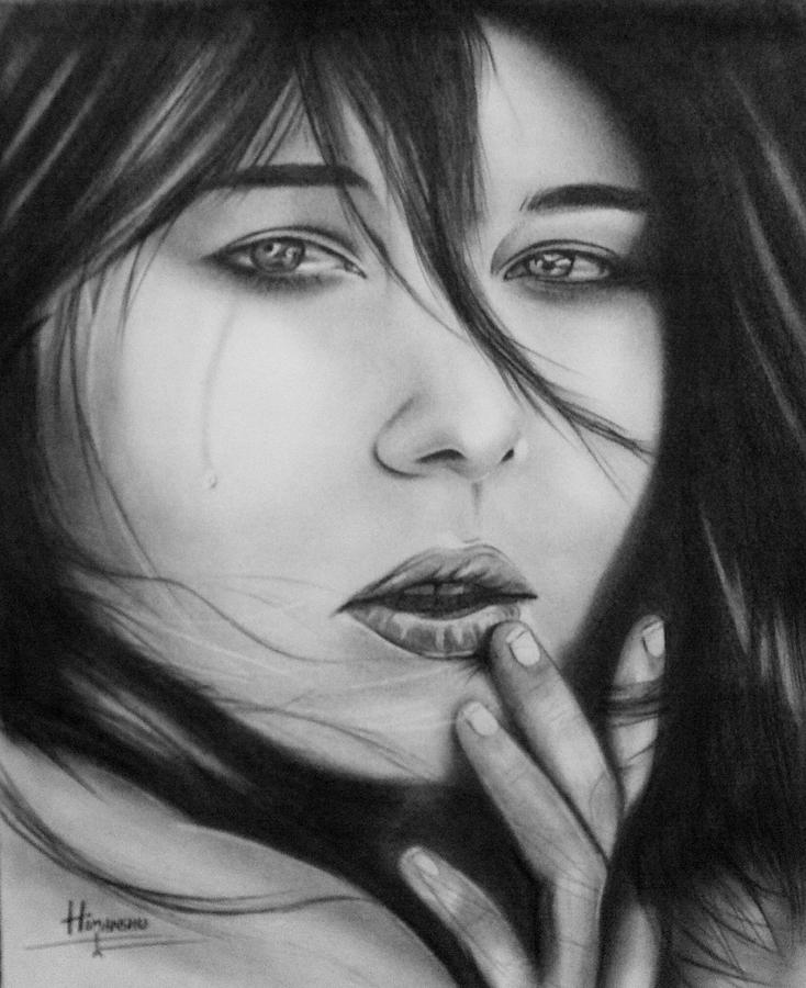 Cry Drawing - cry by Himanshu Jain