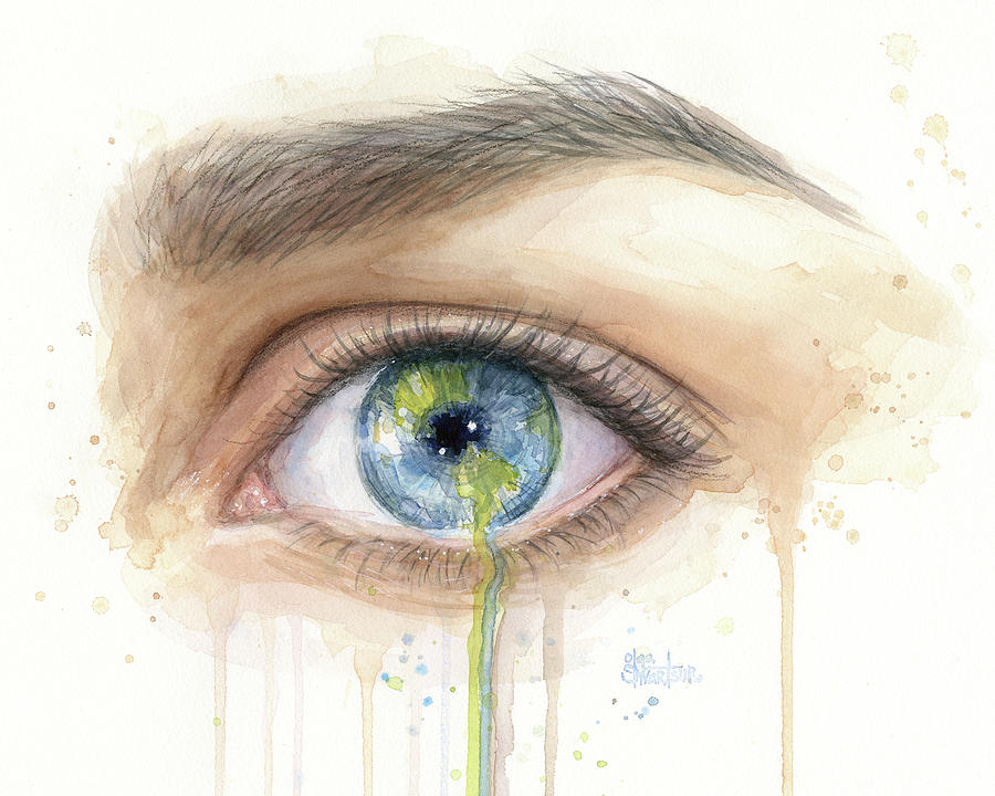 Crying Painting - Earth In The Eye Crying Planet by Olga Shvartsur