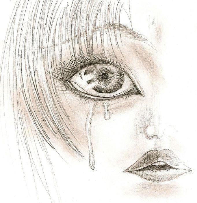 Face Drawing - Crying Eye by Darryl Redfern