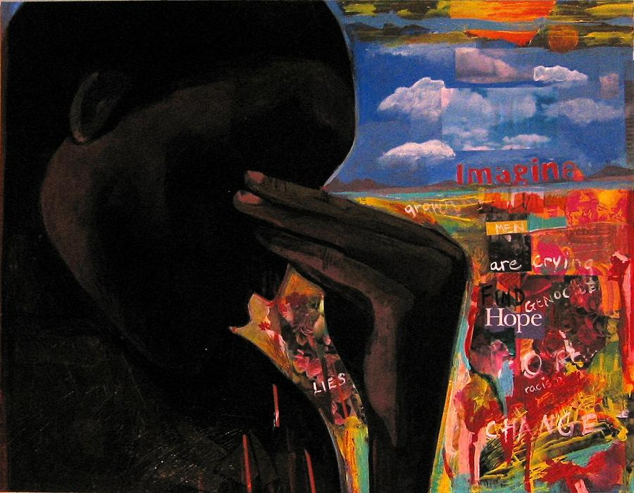African American Painting - Crying Man Change by Joyce Owens