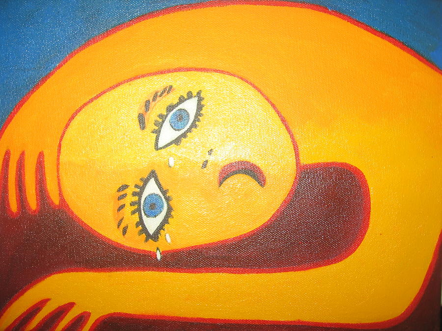 Crying Painting - Crying  Over You by Sandra McHugh