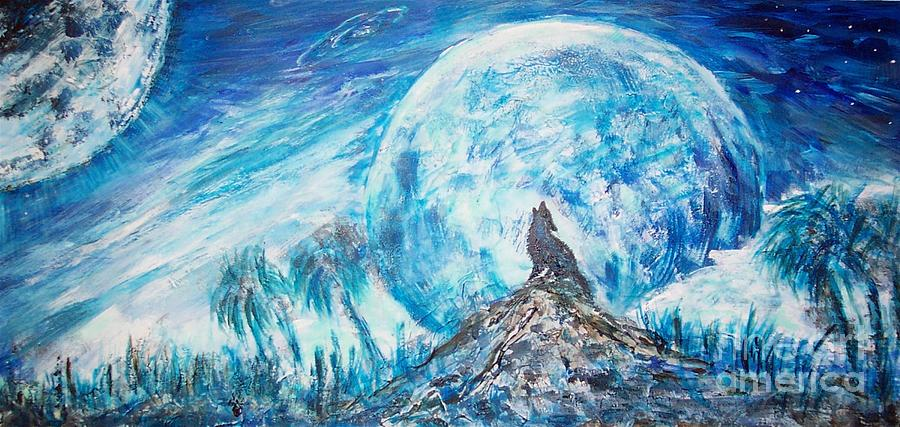 Wolf Painting - Crying Wolf by Mary Sedici