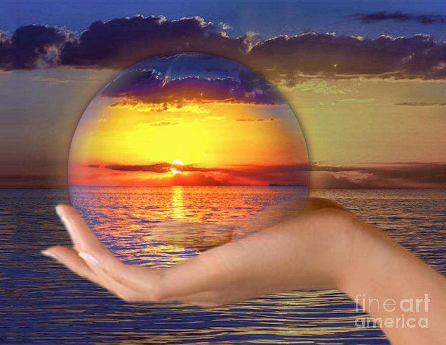 Ocean Mixed Media - Crystal Ball by Edelberto Cabrera