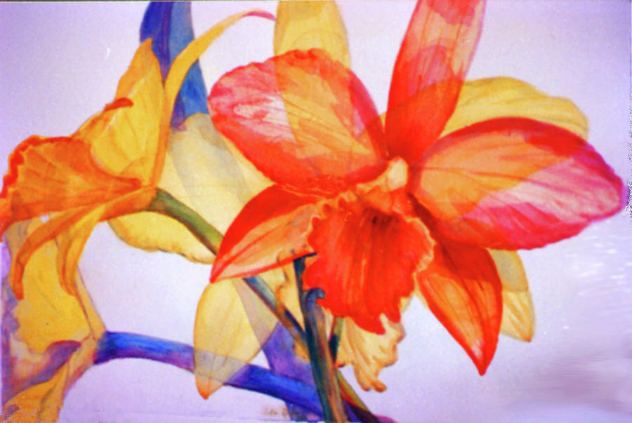 Watercolor Painting - Crystal Orchids by Estela Robles