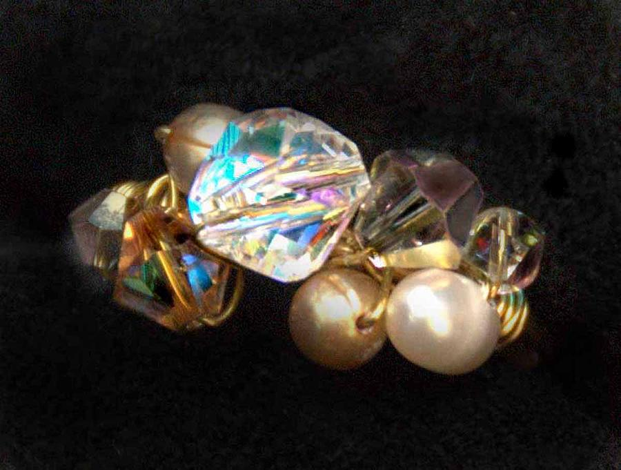 Jewelry Mixed Media - Crystal Pearl Beaded Ring by Michelle Lake
