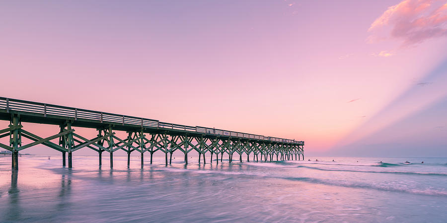 Crystal Pier Wrightsville Beach Sunset Panorama by Ranjay Mitra