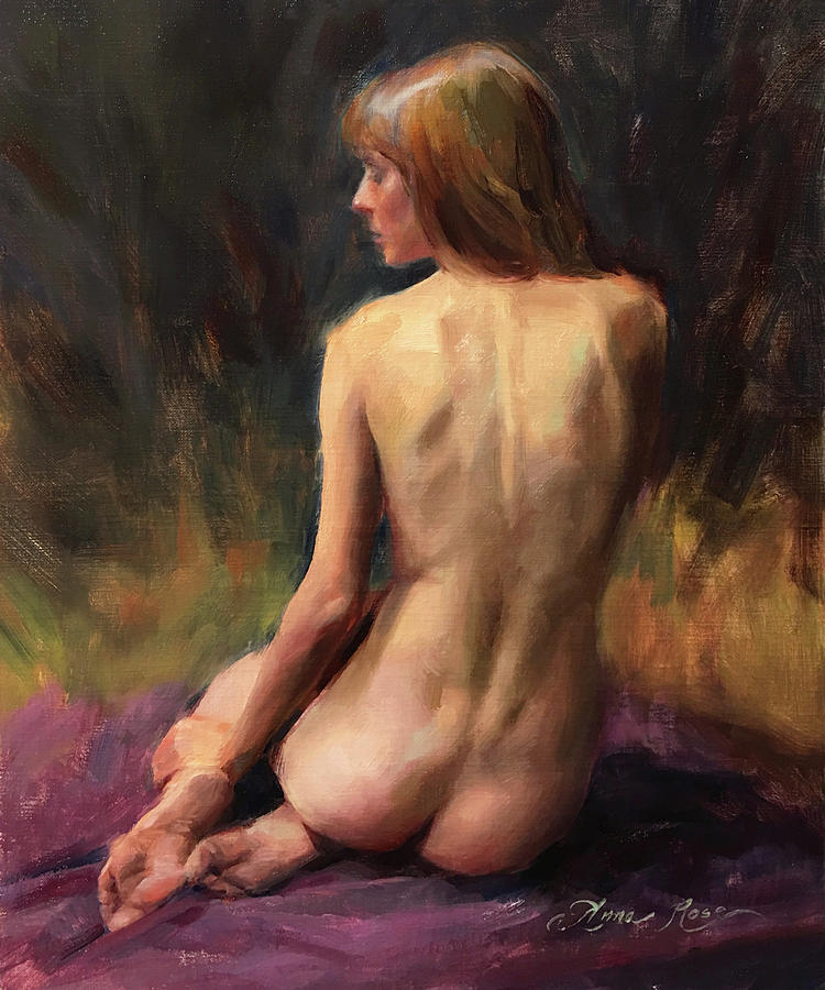 Nude Painting - Crystal Seated by Anna Rose Bain