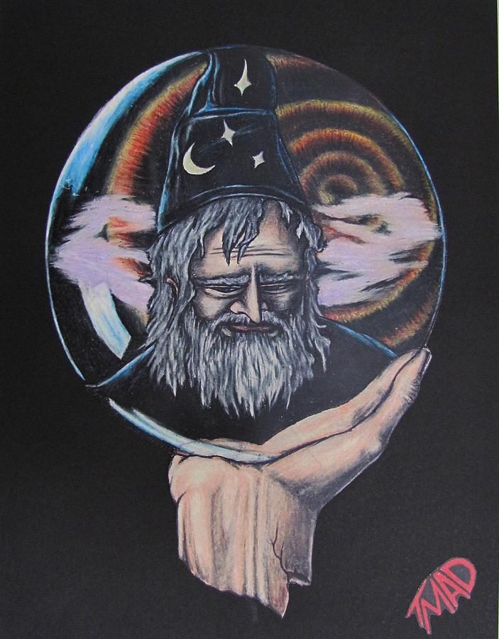 Michael Finney Drawing - Crystal Wizard by Michael  TMAD Finney