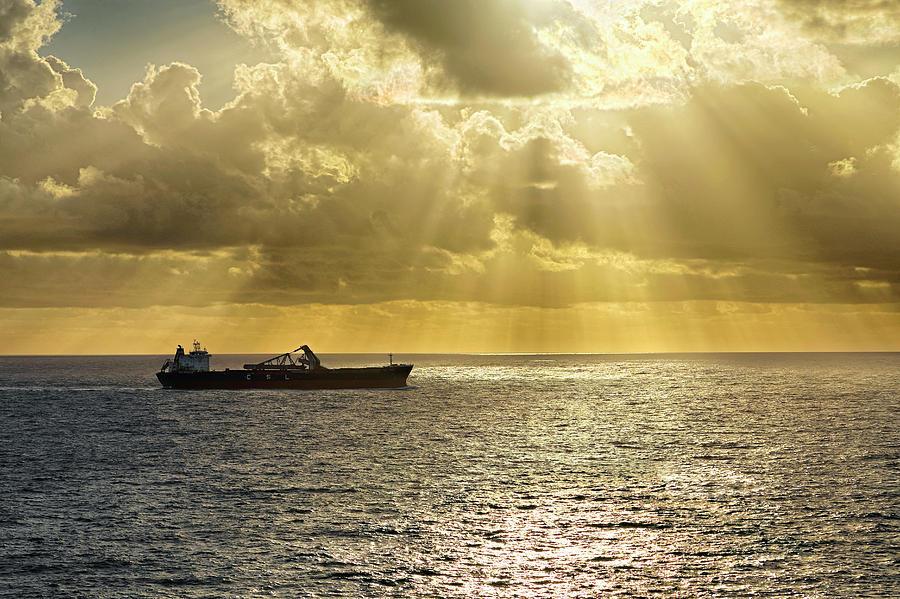 CSL Spirit at Sunrise - Caribbean Ocean - Seascape - Ship by Jason Politte