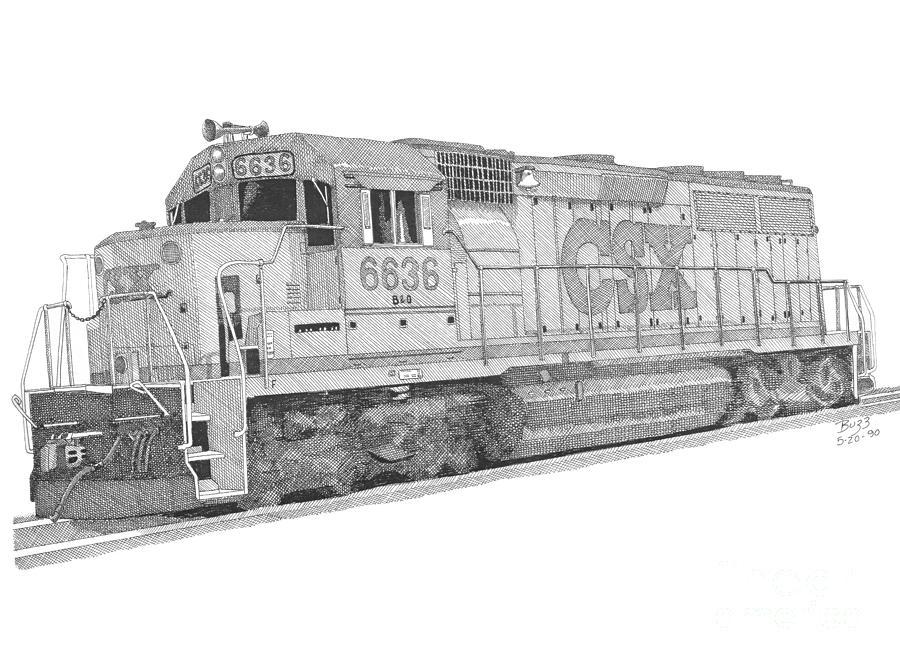 Csx Diesel Locomotive Drawing by Calvert Koerber