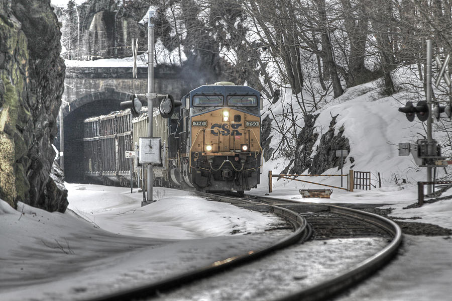 New York Photograph - Csx Northbound At Mine Dock Road Highland Falls New York by Gary Nedbal