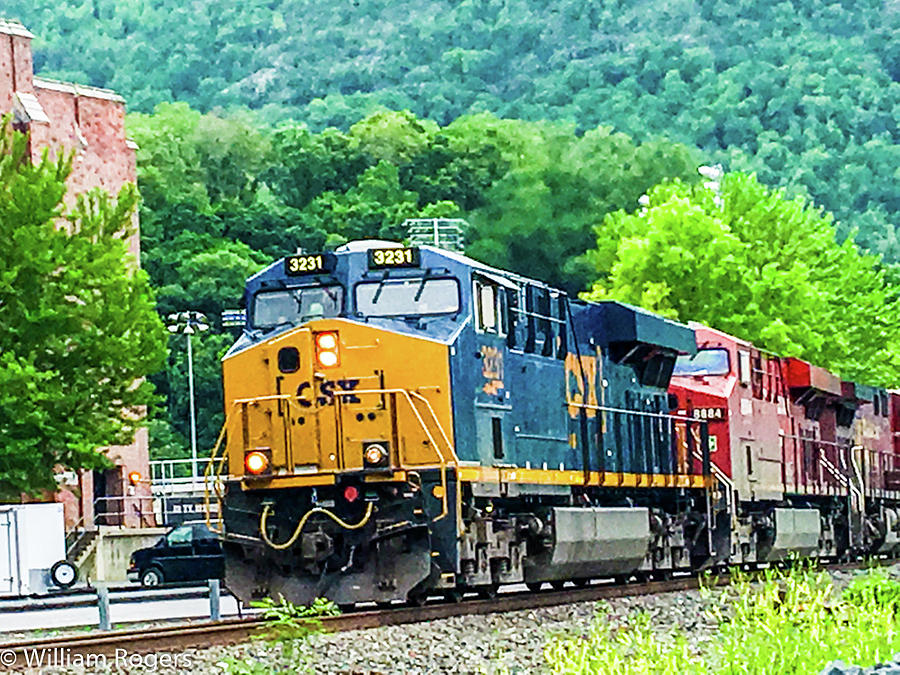 Csx Train At West Point Military Academy by William Rogers