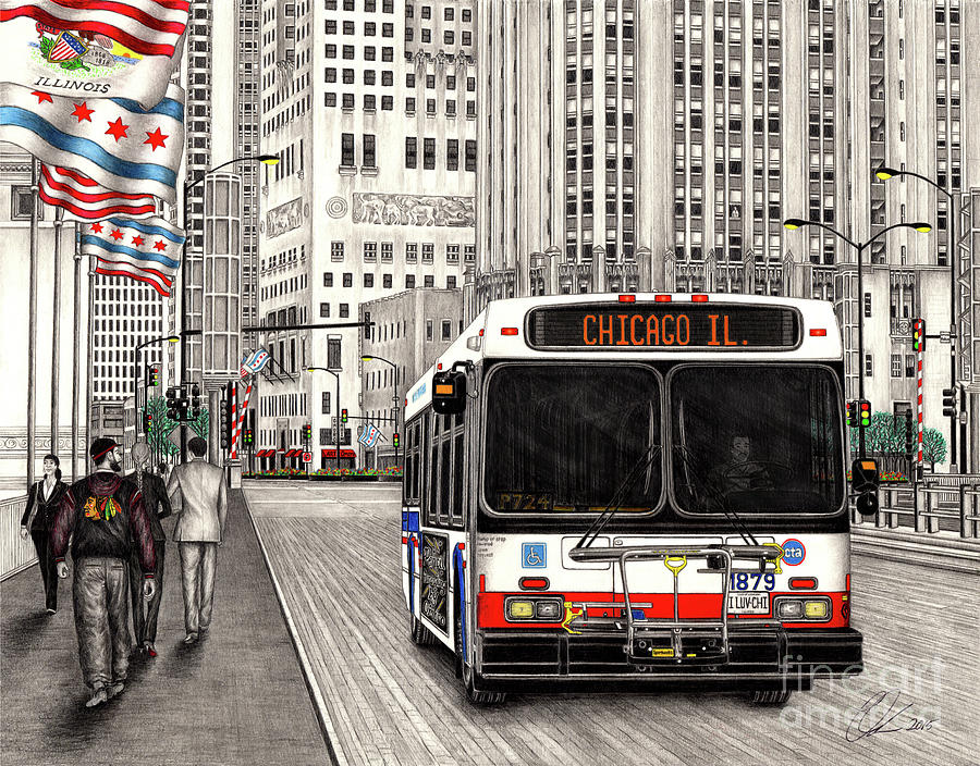 CTA bus on Michigan Avenue by Omoro Rahim
