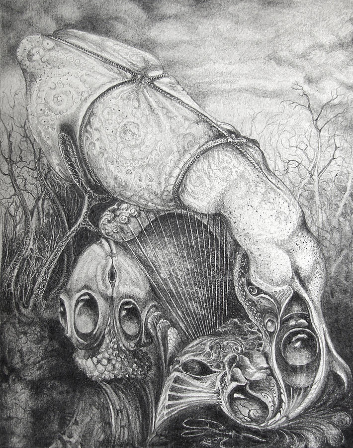 Surrealism Drawing - Ctulhu Seedpods by Otto Rapp