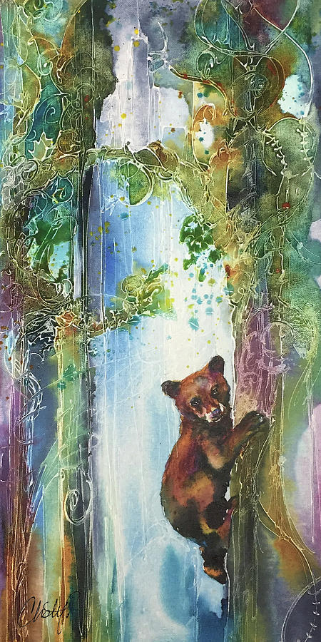 Cub Bear Climbing by Christy Freeman Stark