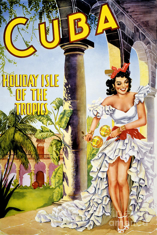 Vintage Painting - Cuba Holiday Isle Of The Tropics Vintage Poster by Vintage Treasure