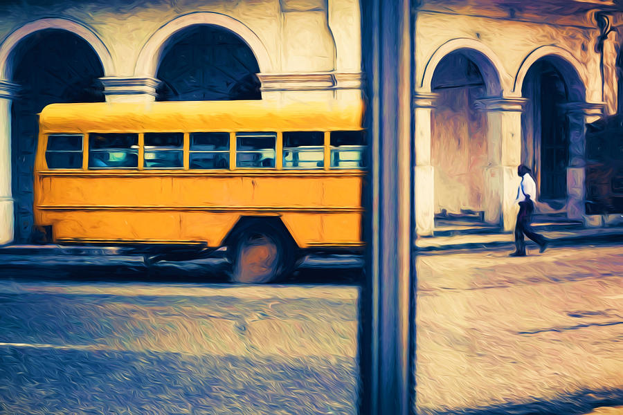 Cuba Photograph - Cuban School Bus And Driver by Paul Bucknall