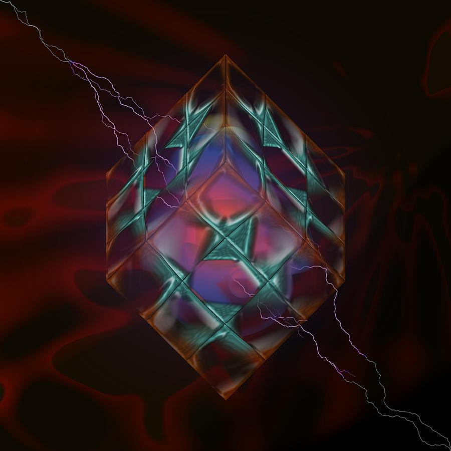 Painting Digital Art - Cube With Thunders 01 by Aleksandar Zisovski