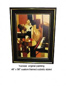 Cubistic Room With Piano Painting by Yunessi
