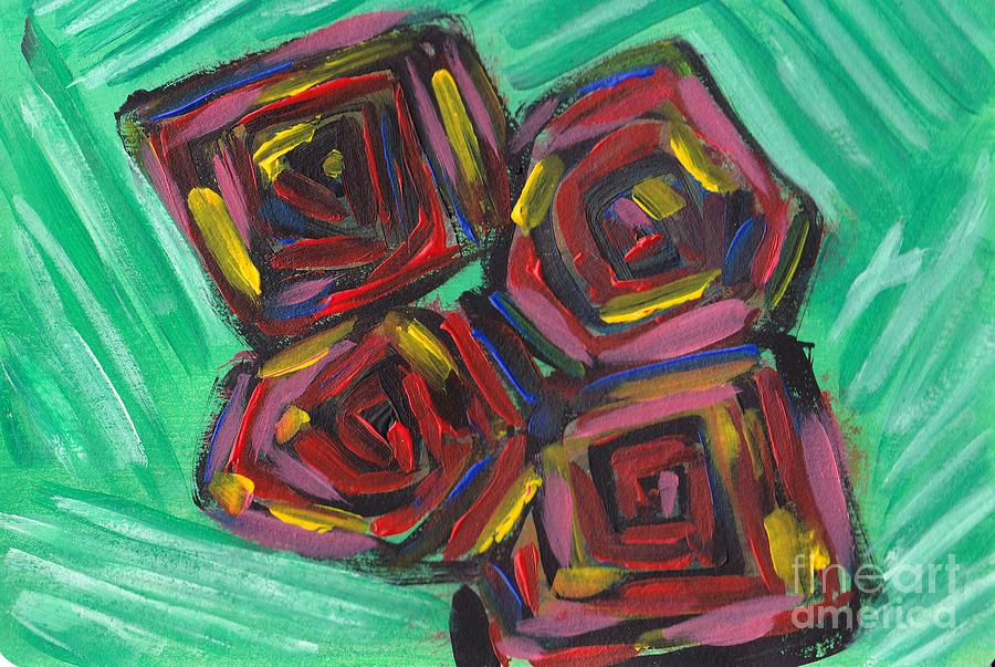 Cubistic Painting - Cubistic Roses by Nyna Niny