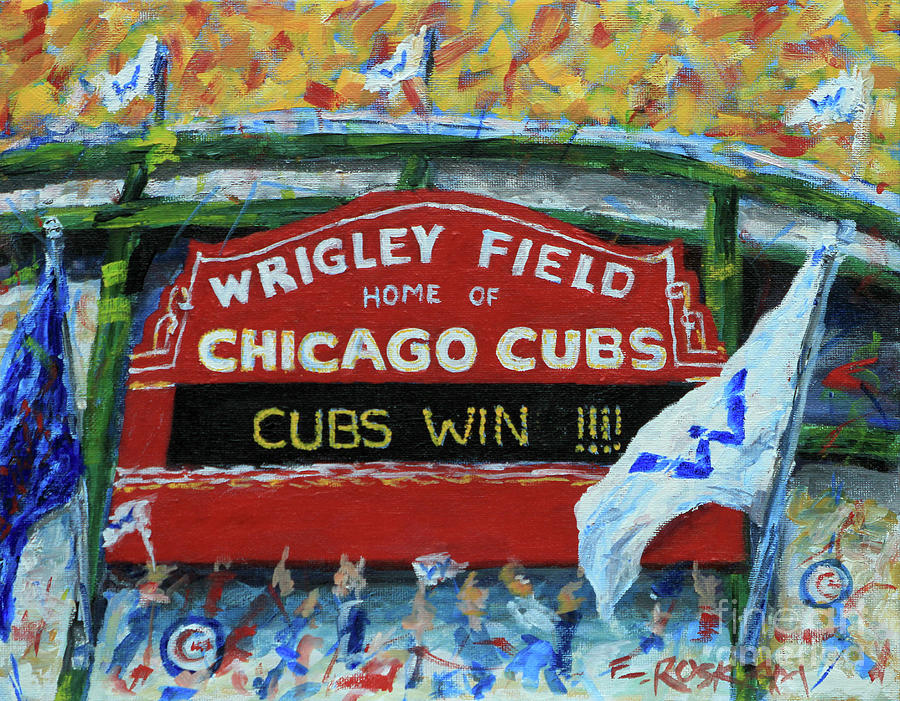 Chicago Cubs Painting - Cubs WIN by Elizabeth Roskam