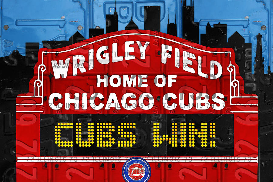 Cubs Win Mixed Media - Cubs Win Wrigley Field Chicago Illinois Recycled Vintage License Plate Baseball Team Art by Design Turnpike