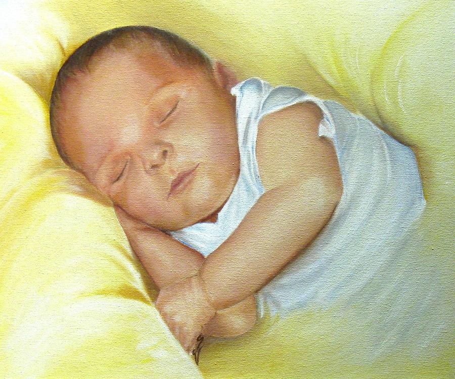 Child Painting - Cuddles by Janine Shideler