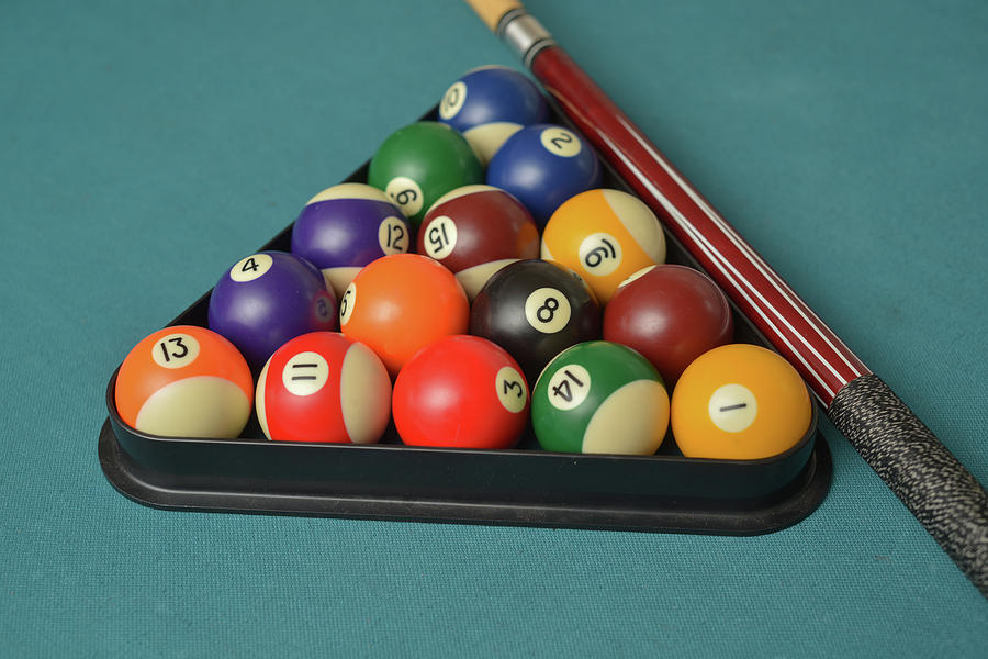 Action Photograph   Cued Up Pool Balls On A Blue Pool Table By Jorge Moro