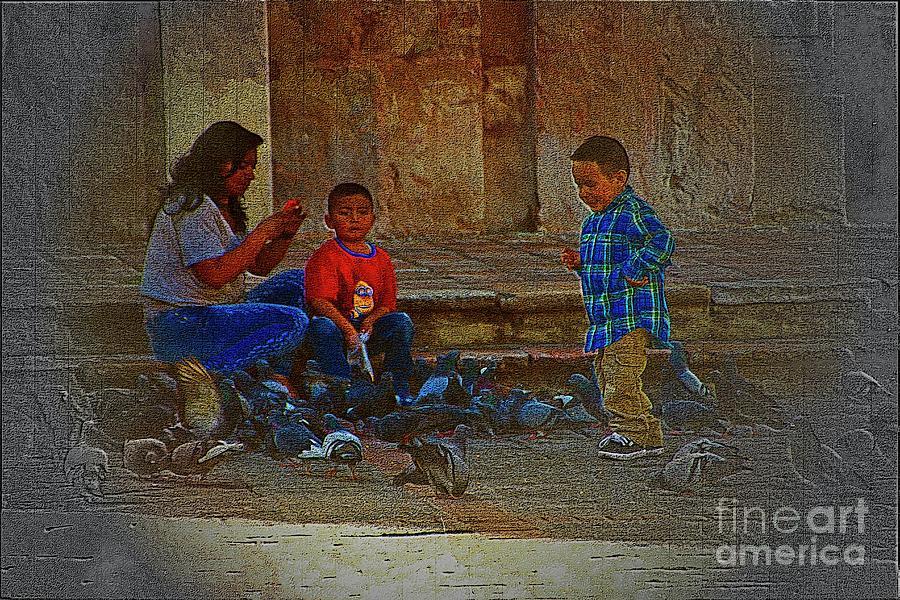 Pigeons Photograph - Cuenca Kids 875 by Al Bourassa