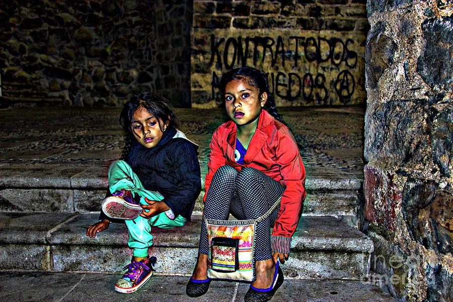 Grunge Photograph - Cuenca Kids 953 by Al Bourassa