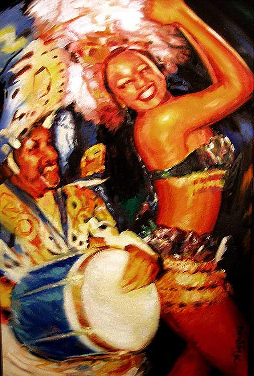 Brazil Painting - Cuica And Sambista by Wendell Wiggins